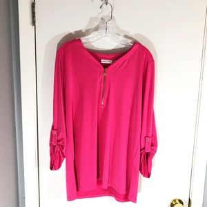 Susan Graver Pink Button Down Sleeve Top